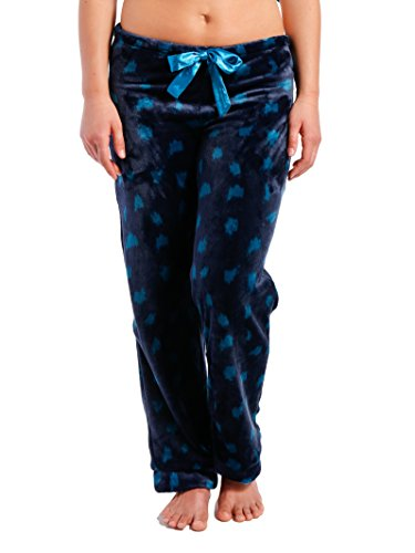 Noble Mount Womens Lush Butterfleece Lounge/Sleep Pants - Snow Leopard - Navy/Teal - XL (Leopard Lounge Pants)