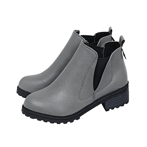 eshion Womens Winter Ankle Boots Low Heels Fashion Boots Autumn Winter Boots Shoes Grey xGYmKqeZt