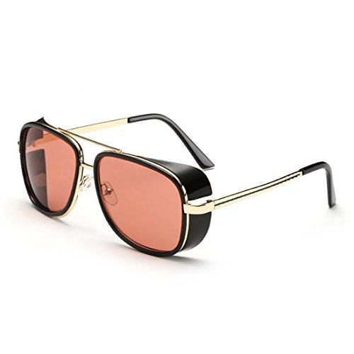 BINGKA Mens Sunglasses Iron Man Tony Driving Sunglasses Frog Mirror Sun Glasses
