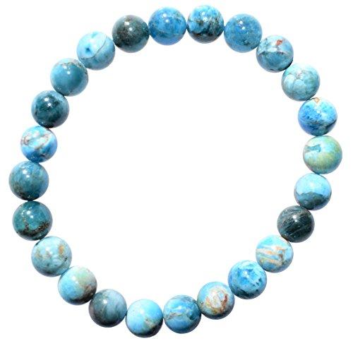 Zenergy Gems Charged Premium 7 Blue/Green Apatite Crystal 8mm Bead Bracelet [Reiki]