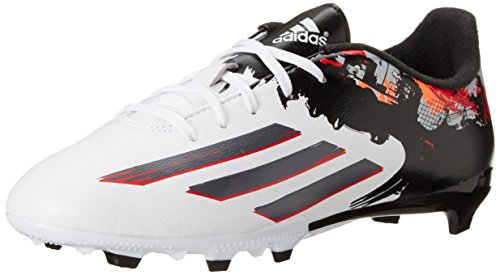 adidas Performance Messi 10.3 Firm-Ground J Soccer Cleat (Little Kid/Big Kid), White/Sharp Grey/Light Scarlet, 11 M US Little Kid