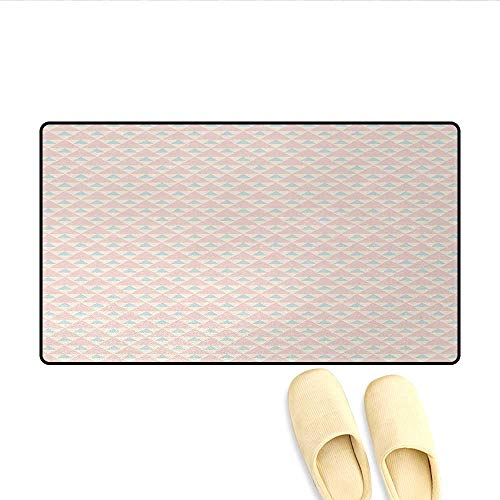 Doormat,Big Little Triangles Squares Retro Geometric Checked Pattern,Floor Mat Bath Mat for Tub,Light Pink Peach Light Blue,Size:32