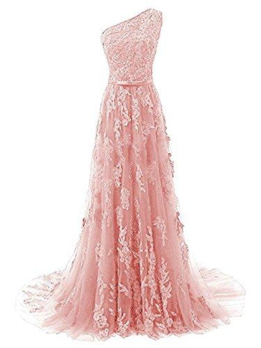 Largo Vestido Un Rosa Novia línea Vestido Vestido de A de JAEDEN Hombro Encaje Noche de Fiesta TtSgxwxzq