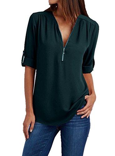 V Manche 4 Col 3 Shirts T 5XL Chemise Blouse Couleurs 15 de Zipp Soie ASSKDAN Moussline S Vert Femme 8xqBIxnH