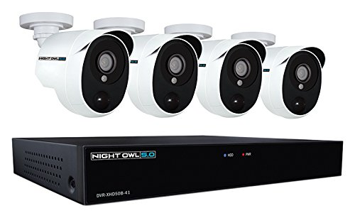 Night Owl XHD501-44P-B 4 Channel 5MP Extreme HD Video Security DVR & Wired Infrared Cameras with 1 TB HDD, White