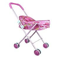 Pevor Folding Kids Stroller Simulation Play Shopping Cart Girl Children Pretend Play Furniture Toys Baby Doll Stroller Pram Pushchair