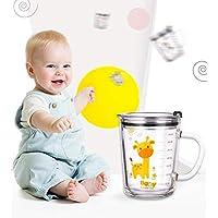 Soleiler Niño Taza Medidora Taza de Leche Vaso Taza de Escala para niños con Paja, 350 ml Taza de Agua de Vidrio para…
