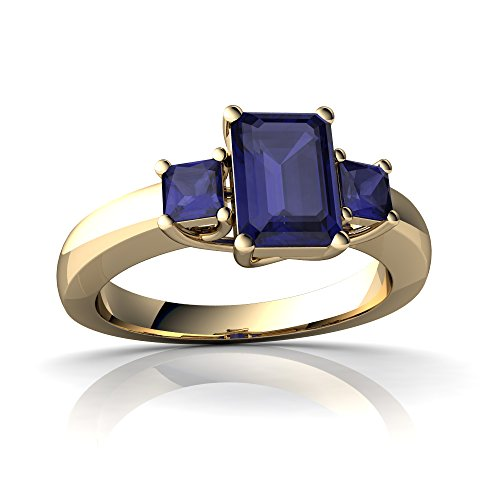14kt Gold Sapphire 7x5mm Emerald Cut Three Stone Trellis Ring