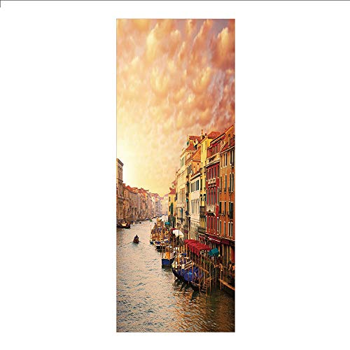 (3D Decorative Film Privacy Window Film No Glue,Scenery Decor,Venezia Italian Decor Landscape with Old Houses Gondollas and Spikes Image,Multicolor,for Home&Office)