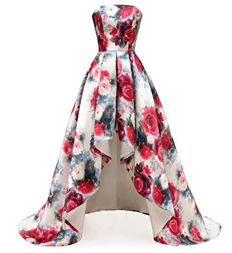 Dydsz Prom Dresses High Low Homecoming Party Dress for Women Juniors 2019 Plus Size Floral D295 HI-LO 16 (Jr Plus Size Prom Dresses)