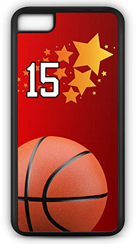 iPhone 6 Plus 6+ Case Basketball BK007Z Choice of Any Personalized Name or Number Tough Phone Case by TYD Designs in Black Plastic and Black Rubber with Team Jersey Number 15 ()