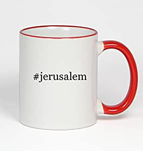 #jerusalem - Funny Hashtag 11oz Red Handle Coffee Mug Cup