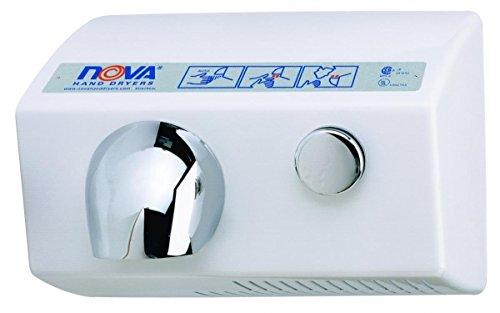 (World Dryer Nova 5 0122 Aluminum White Push Button Hand Dryer - 208/240V)