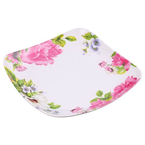 Amazon.com | DealMux melamina Home Kitchen Praça Flor Shaped Food Dessert Plate Bandeja Fuchsia: Accent Plates
