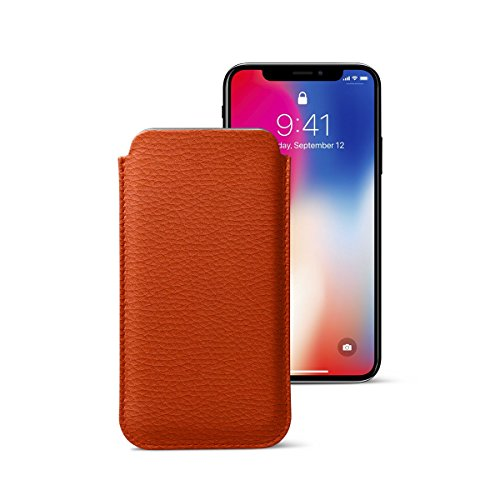 Lucrin - Classic Case for iPhone X - Orange - Granulated Leather by Lucrin