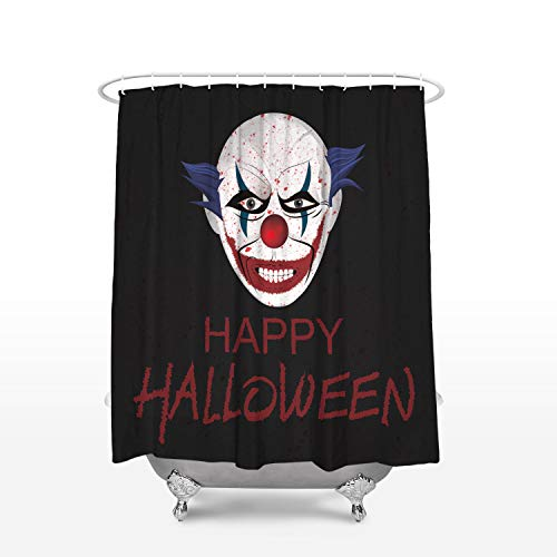 Leotear Mildew Resistant Fabric Shower Curtain with Hooks, Waterproof Polyester Bath Curtains for Bathroom Showers and Bathtubs - 36x78 Inch Happy Halloween Clown