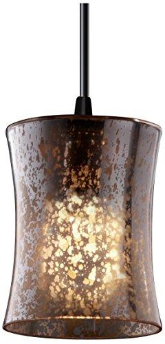 - Justice Design Group Fusion 1-Light Pendant - Matte Black Finish with Mercury Glass Artisan Glass Shade