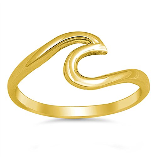Gold-Tone Ocean Wave Design Tide Ring New .925 Sterling Silver Band Size 7 (Design Wave Band)