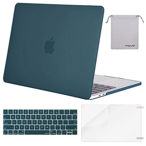 MOSISO MacBook Pro 13 Case 2018 2017 2016 Release A1989/A1706/A1708, Plastic Hard Shell & Keyboard Cover & Screen Protector & Storage Bag Compatible Newest Mac Pro 13 Inch, Deep Teal