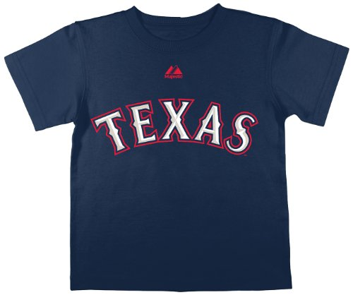MLB Texas Rangers Player Name and Number Tee, Navy, Small