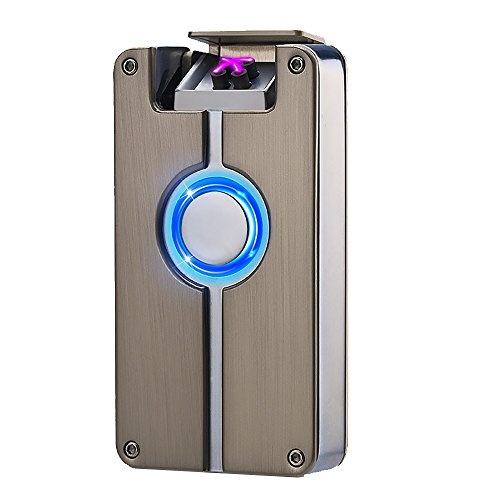 Oiikury USB Rechargeable Windproof Cross Arc Cigarette Lighter LED Light Button Double Arc (Cross Cigarette Lighter)
