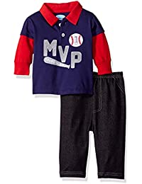 Baby Boys' 2 Piece Longsleeve Collared Shirt With Denim Pant