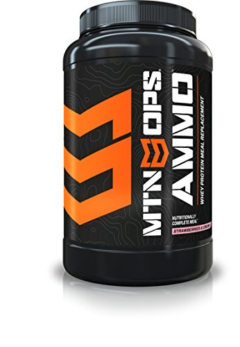 Replacement Mountain (MTN OPS Ammo Whey Protein Nutritionally-Complete Meal Replacement Powder, Strawberries And Cream Flavored, 28 Servings Per Container)