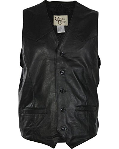 Cripple Creek Men's Lambskin Button Front Vest Black X-Large (Lamb Western Vest)