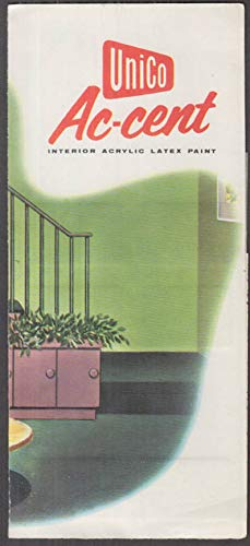 (UniCo Ac-Cent Interior Acrylic Latex Pain Chip Chart folder ca 1950s )
