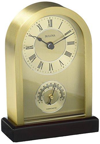 Bulova Aluminum Case Wooden Base Table Clock, Brushed Gold ()