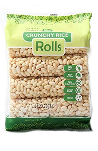 Kims Magic Pop Crunch Rolls Rice Flavored Snack - Gluten Free, Vegan, All Natural (1 Pack of 8 Rolls)