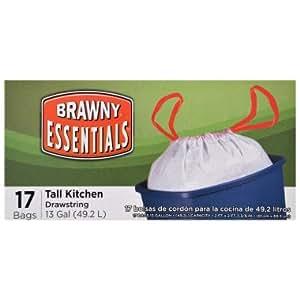 Brawny Essentials Drawstring Tall Kitchen Garbage Bags - 13 Gallon , 17 ct