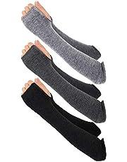 Bemomo 3 Pairs Winter Long Fingerless Gloves Knit Elbow Length Gloves Thumb Hole Arm Warmers for Women Girls