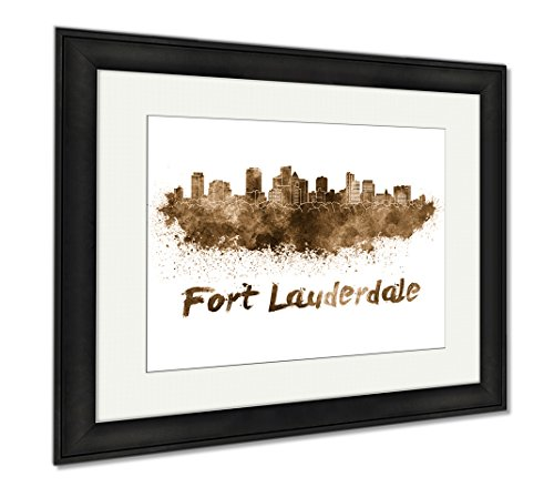 Ashley Framed Prints Colorful Watercolor Fort Lauderdale, Wall Art Home Decoration, Sepia, 26x30 (frame size), Black Frame, - Fit Fort Shop Lauderdale The