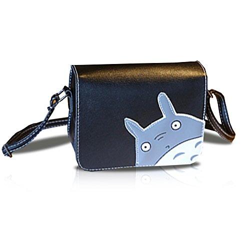 Finex Black My Neighbor TOTORO PU Crossbody Handbag Small purse zippered hand bags with adjustable strap
