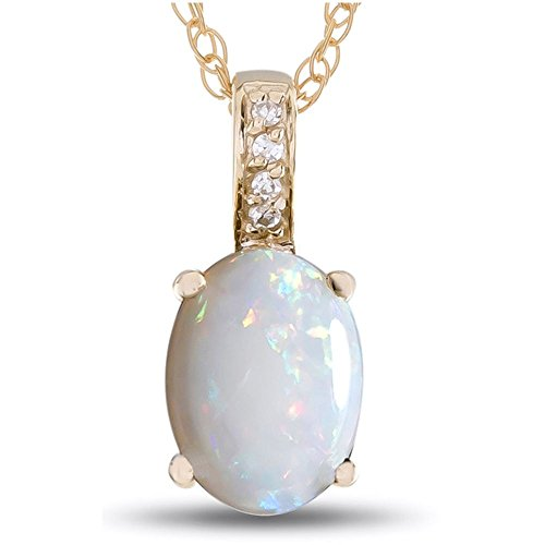 (LALI Classics 14k Yellow Gold Opal Oval Pendant Necklace)
