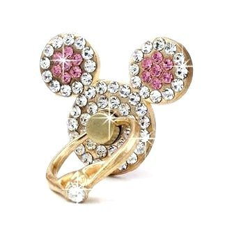 Universal 360°Rotating Finger Ring Stand Holder Kick Stand For Mobile Phone Anti Drop Table Mount (Mickey Ears Pink)