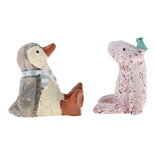 Fityle Miniature Animals Room Ornaments, Penguin + Polar Bear, for 1:12 Dollhouse Decoration from Fityle