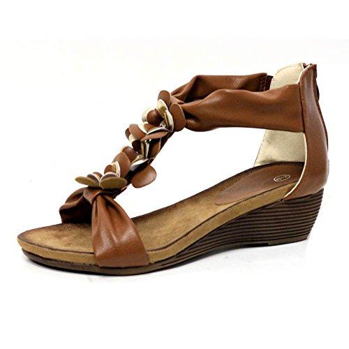 Tan Toe Party Ferse Kleid Schuhe Multi Impressionz Fußbett 8 Mitte Abend Damen Phantasie Post Damen Größe Diamante Keil Sandalen Sommer 3 YvqAH