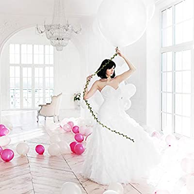 10 Pieces 36 Inch/ 18 Inch White Balloons White Giant Balloons with 65 Feet Long Artificial Vine for for Wedding Birthday Valentine's Day Party Decorations (18 Inch): Toys & Games