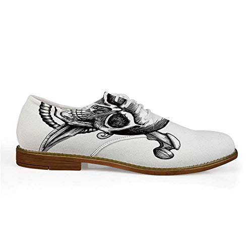 Pirate Stylish Leather Shoes,Jolly Roger Skull with Two Knifes Bones and Hanging Rope Gothic Criminal Halloween Decorative for Men,US 8