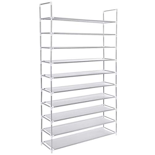 USA_Best_Seller New 50 Pair 10 Tiers Shoe Rack Shelf Storage Organizer Gray Portable Closet Metal Entryway Tall Home Shelving Room Free Standing Unit Bedroom