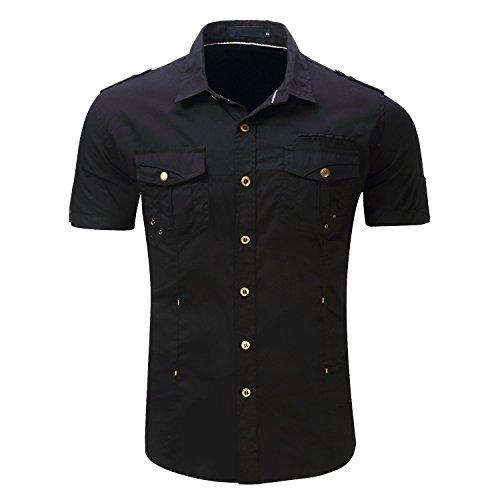 HULANG Mens Casual Military Style Short Sleeve Button Down Dress Shirts Twill Work Shirts