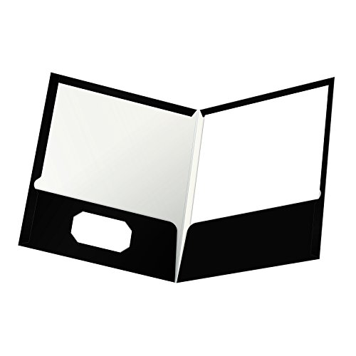 Oxford Showfolio Laminated Twin Pocket Folders, Letter Size, Black, 25 per Box (51706) (Esselte Business Card Holder)