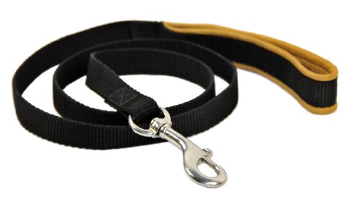 Dean & Tyler Padded Puppy Double Ply Nylon Dog Leash with Brown Padded Handle and Stainless Steel Hardware, 3-Feet by 3/4-Inch, Black