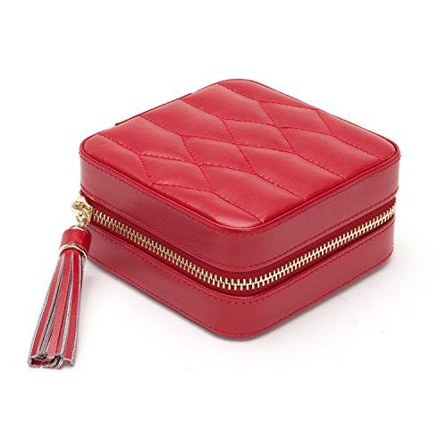 WOLF Caroline Zip Travel Case, 4.5x4.5x2.5, red