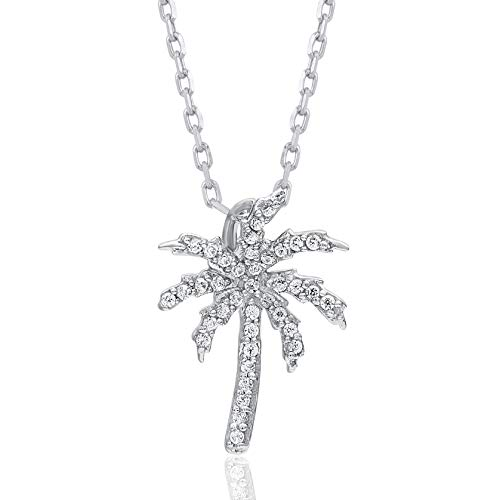 1/10 Carat Natural Diamond Pendant Necklace 10K White Gold (HI Color, I3 Clarity) Palm Tree Diamond Pendant Necklace for Women Diamond Jewelry Gifts for Women