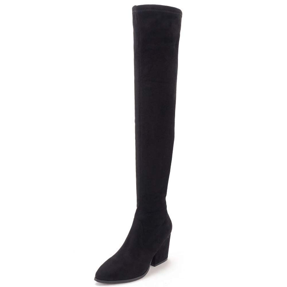 Black Womens Sexy Over The Knee Thigh High Ladies Stretch Block Heel Mid Heel Boots,BlackEU 36=6.0B(M) US