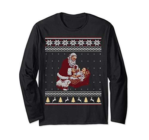 Santa Claus And Baby Jesus Nativity Manger Christmas Shirt