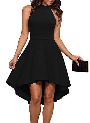 THANTH Womens Dresses Halter Neck Sleeveless Backless High Low Cocktail Skater Dress Black L